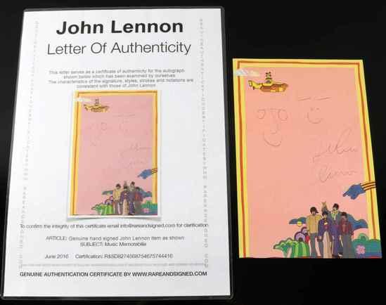 JOHN LENNON AUTOGRAPH YELLOW SUBMARINE STATIONARY