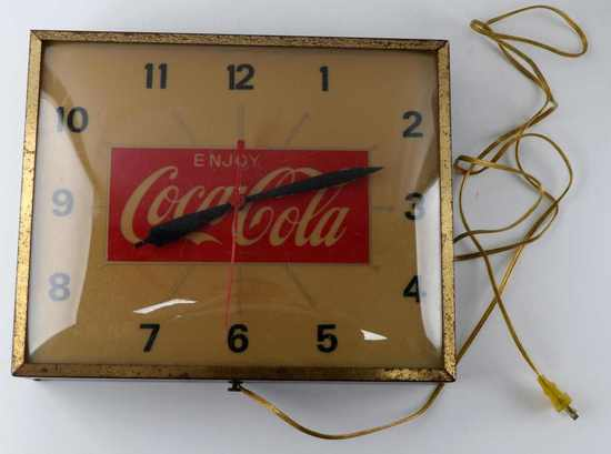 SWIHART COCA COLA LIGHT UP ADVERTISING CLOCK 1960S