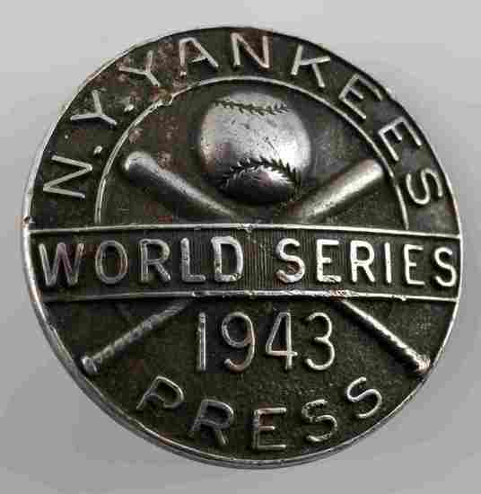 1943 STERLING SILVER WORLD SERIES PRESS PIN BADGE