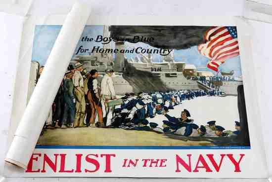 LOT ORIGINAL POSTERS WWII WWI AMERICANA SAVINGS