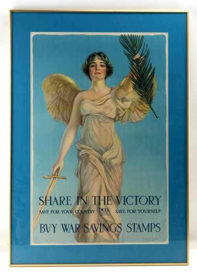 WWI SHARE VICTORY WAR SAVING STAMP FRAMED POSTER
