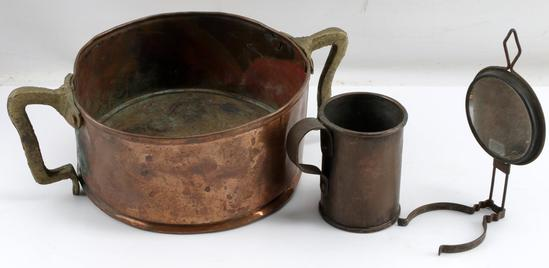 LOT OF CIVIL WAR ITEMS MIRROR CUP COPPER POT