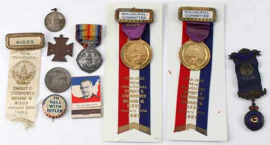 LOT OF 10 POLITICAL CAMPAIGN PINS & MEDALS 1953
