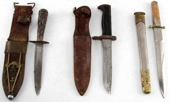 3 WWII JAPANESE DAGGER GARAND & RFC FIGHTING KNIFE