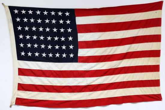 WWII US AMERICAN 48 STAR MILITARY BANNER FLAG