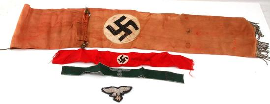 WWII GERMAN THIRD REICH BANNER EAGLE & MORE LOT