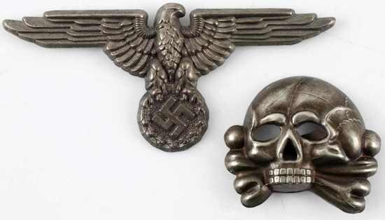 WWII GERMAN WAFFEN SS EAGLE & TOTENKOPF CAP BADGE