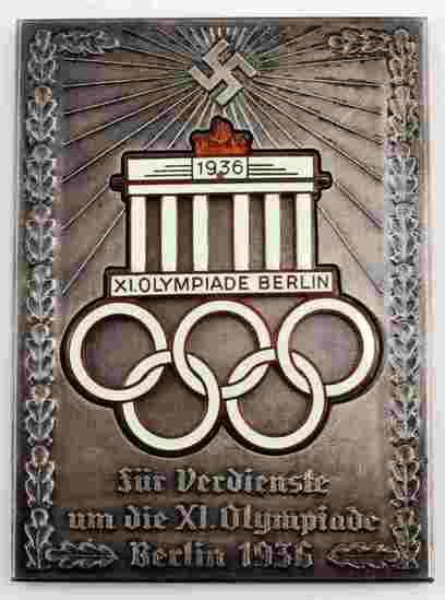 GERMAN WWII 1936 BERLIN SUMMER OLYMPICS PLAQUE