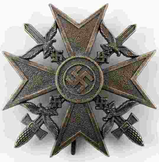 WWII GERMAN THIRD REICH BRONZE SPANISH CROSS MEDAL