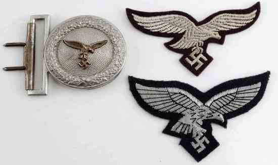 WWII GERMAN LUFTWAFFE BUCKLE AND BREAST EAGLE LOT