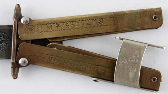 WWII GERMAN 3RD REICH SS PARATROOPER FOLDING KNIFE
