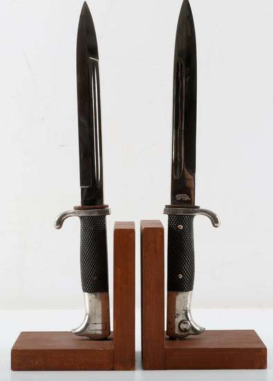 WWII GERMAN HEER ARMY BAYONET BOOKEND LOT OF 2
