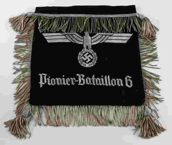 WWII GERMAN PIONEER BATTALION TRUMPET BANNER FLAG