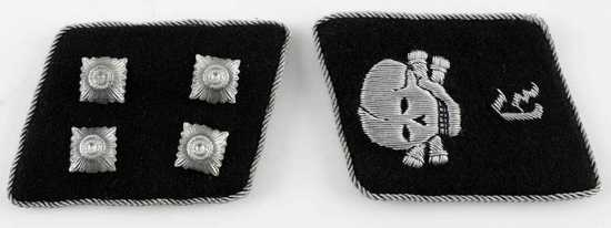 WWII GERMAN SS TOTENKOPF OFFICER COLLAR TABS