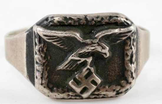 WWII GERMAN LUFTWAFFE SILVER PILOTS RING