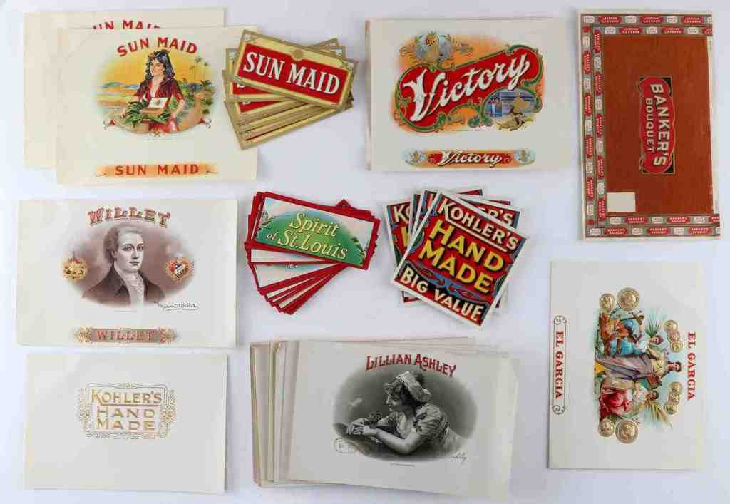 LG COLLECTION OF ANTIQUE CIGAR BOX LABELS 100'S