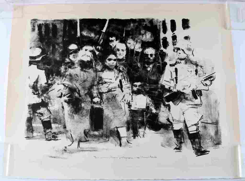 JACK LEVINE ABSTRACT LITHOGRAPH OF WARSAW GHETTO