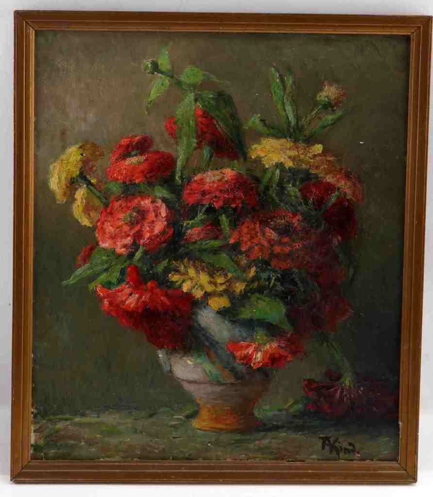 AUGUSTE KIND FLORAL STILL LIFE WITH VASE FRENCH