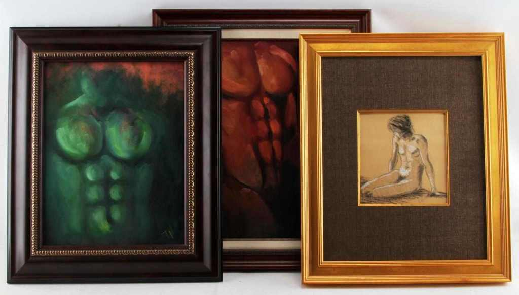 AMERICAN MALE NUDE EROTICA PAINTING LOT OF 3