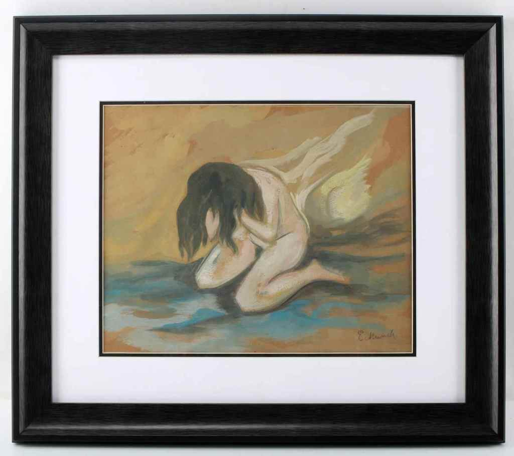 EDVARD MUNCH WATERCOLOR ON PAPER FEMALE FIGURE