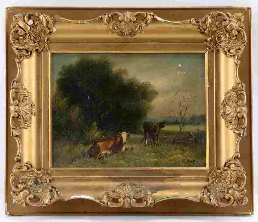 ANDREW MILLROSE LANDSCAPE PAINTING COWS PASTURE
