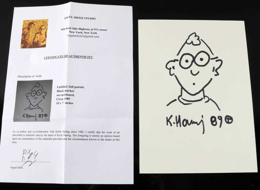 KEITH HARING MARKER ON CARDSTOCK SELF PORTRAIT