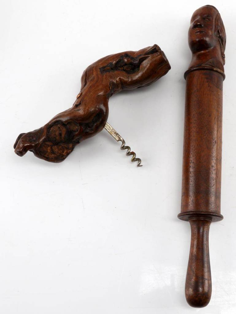 THOMAS JEFFERSON FOLK ART SCULPTURE & CORK SCREW