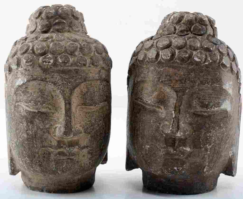 TWO CARVED STONE CHINESE BUDDHA HEADS QING DYNASTY