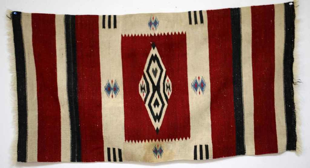 NAVAJO WEAVING SADDLE BLANKET 42 BY 22 INCHES