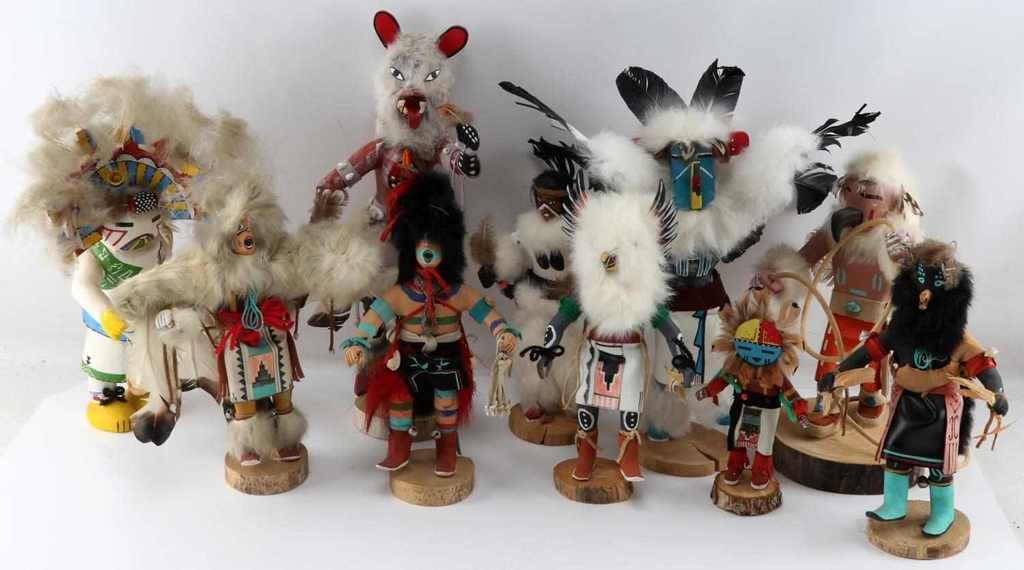 9 HOPI & NAVAJO NATIVE AMERICAN KACHINA DOLLS