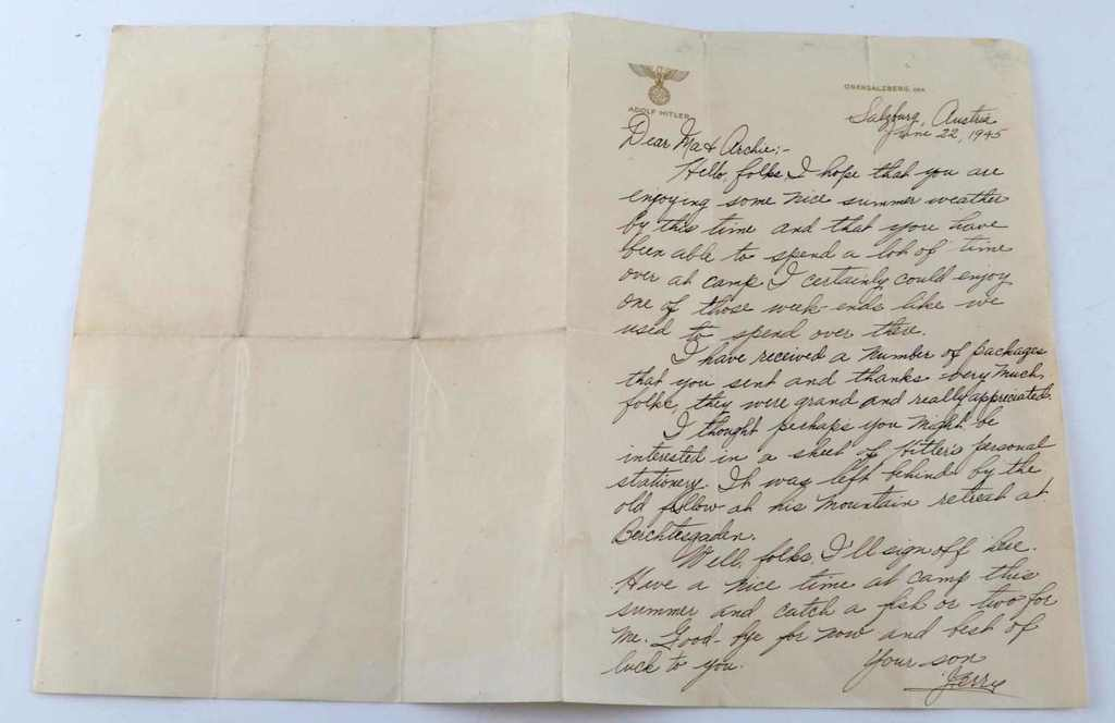 ADOLF HITLER STATIONARY W LETTER FROM US SOLDIER