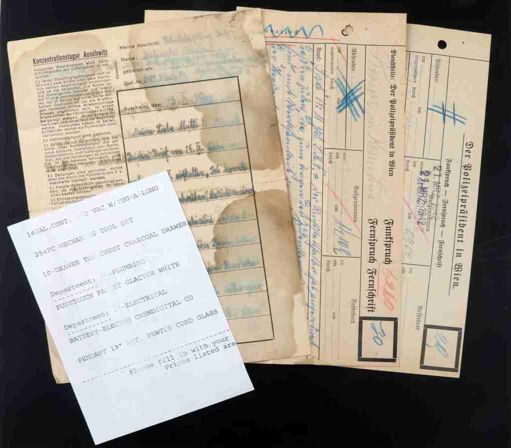 AUSCHWITZ PRISONER LETTER & ANTI SEMETIC DOCUMENTS