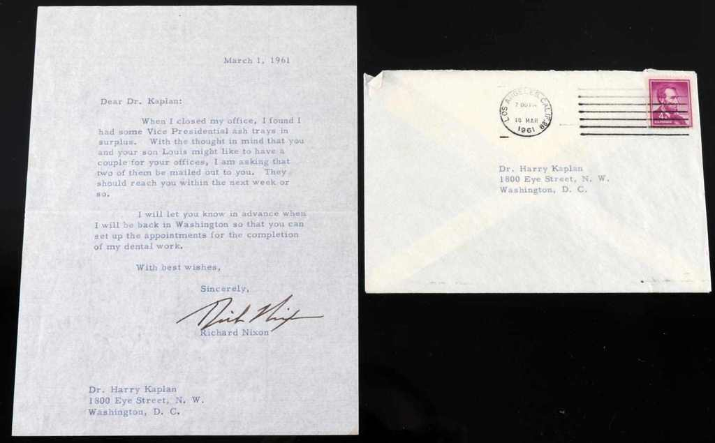 RICHARD NIXON SIGNED LETTER TO PERSONAL DENTIST