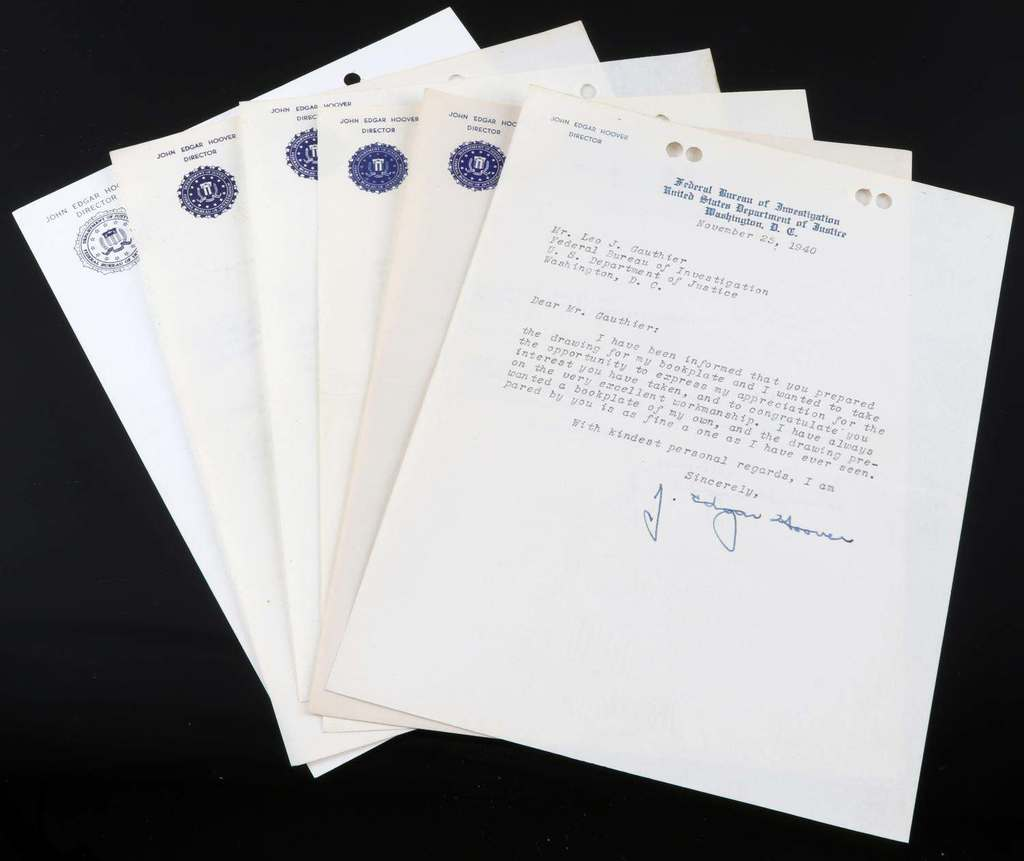 7 SIGNED J EDGAR HOOVER LETTERS FROM 1940 TO 1965
