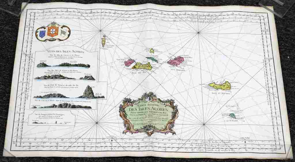 1755 J N BELLIN MAP OF THE AZORES 21 X 35 INCHES