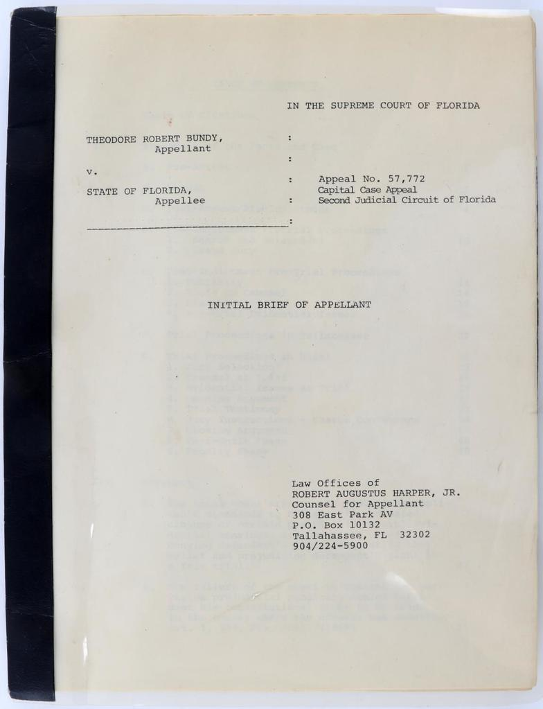 TED BUNDY SUPREME COURT APPEAL DOCUMENT BRIEF