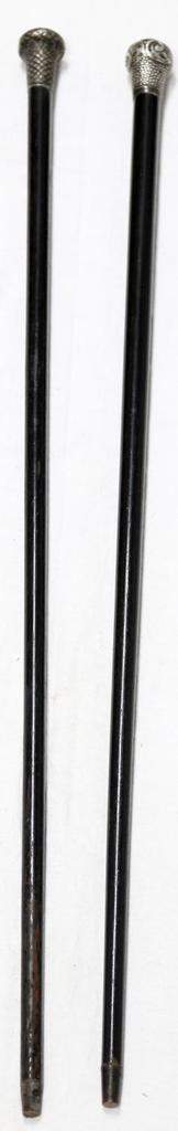 2 WOODEN & SILVER WALKING STICKS CANES ANTIQUE
