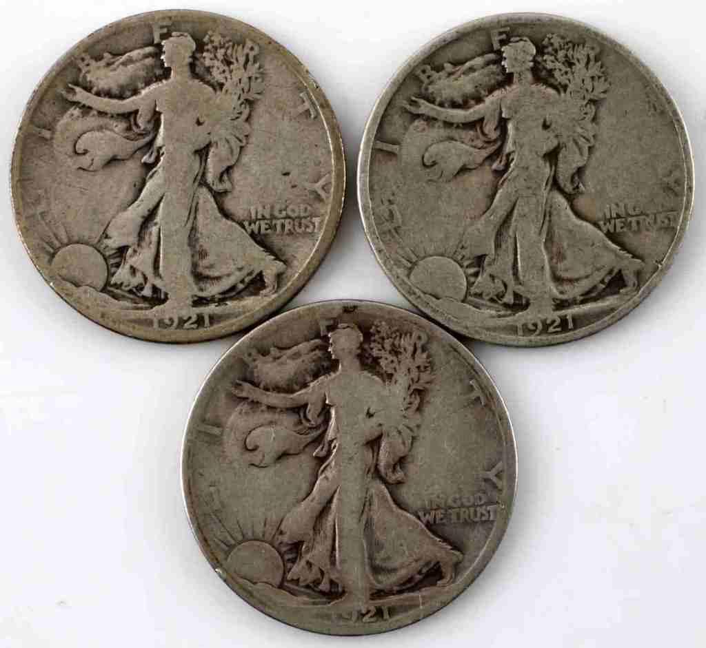 1921 PDS KEY DATE WALKING LIBERTY 3 COIN SET
