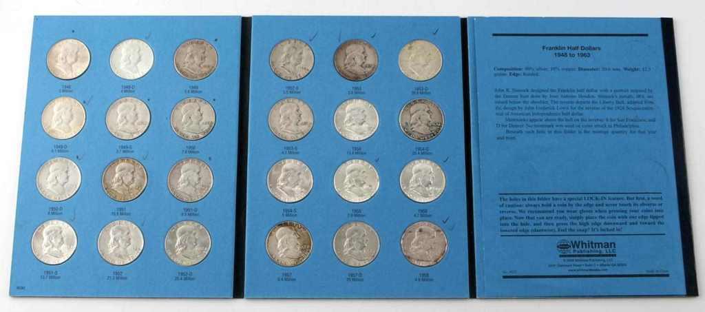 COMPLETE FRANKLIN HALF DOLLAR SET 1948 TO 1963