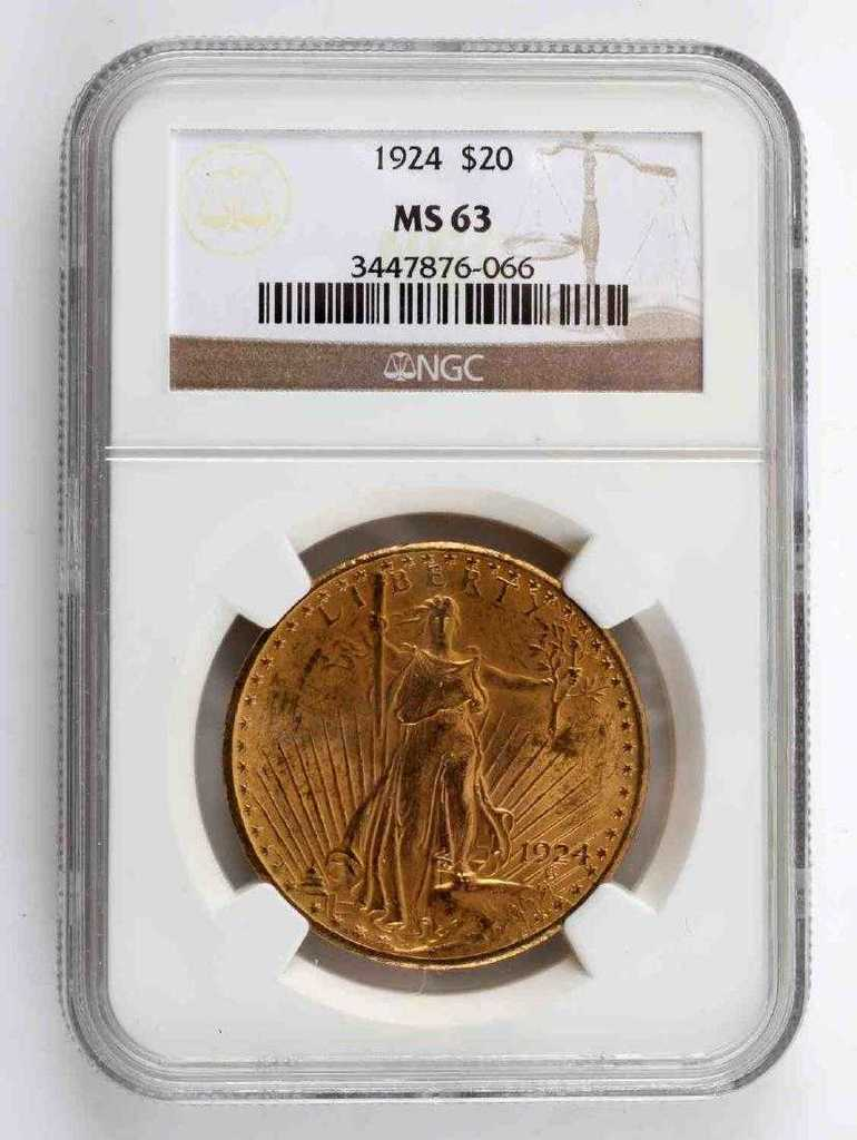 1924 ST GAUDENS $20 GOLD DOUBLE EAGLE COIN MS63