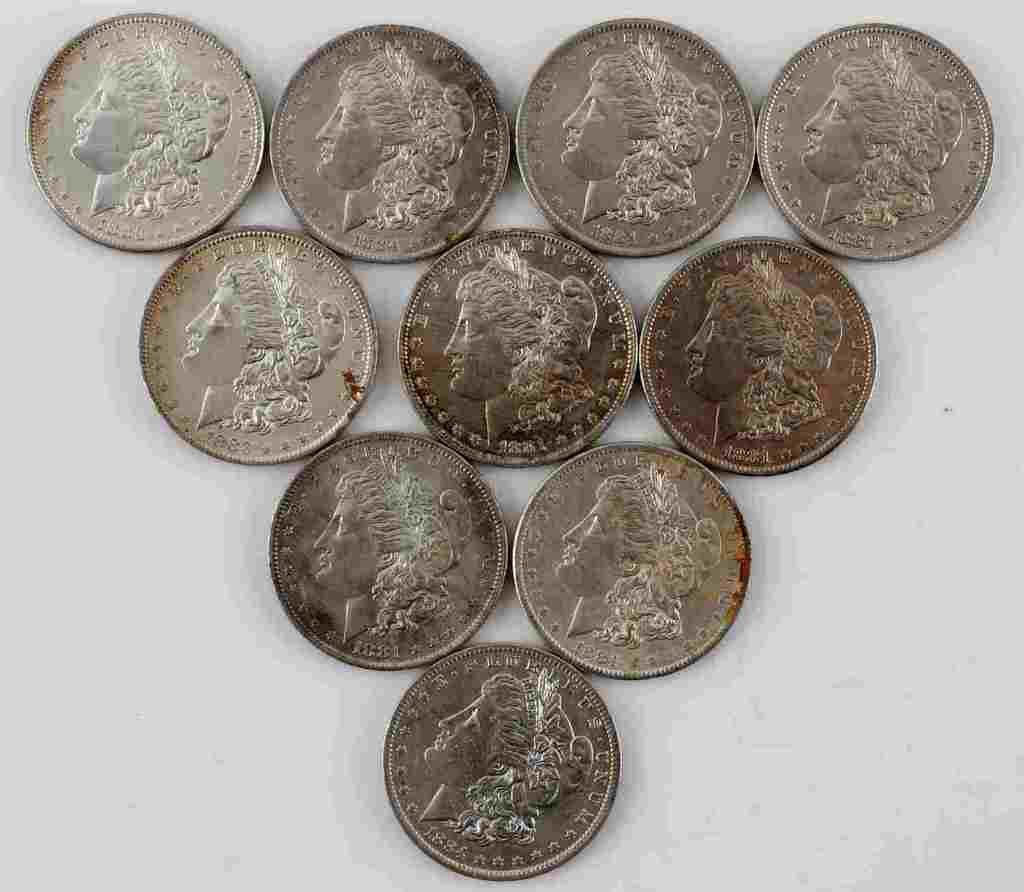 10 MORGAN SILVER DOLLAR BU UNCIRCULATED COIN LOT