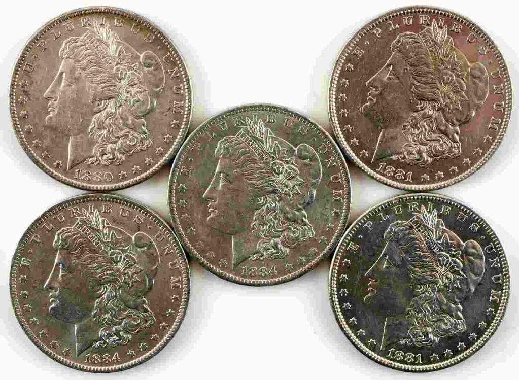 5 MORGAN SILVER DOLLAR BU UNCIRCULATED COIN LOT