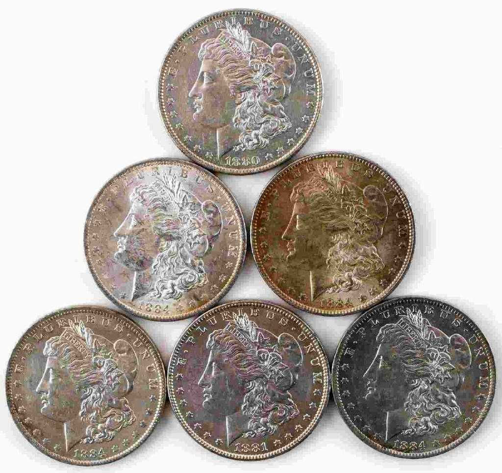 6 MORGAN SILVER DOLLAR BU UNCIRCULATED COIN LOT