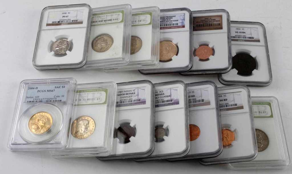 ANTIQUE TO MODERN SLABBED COIN LOT OF 13