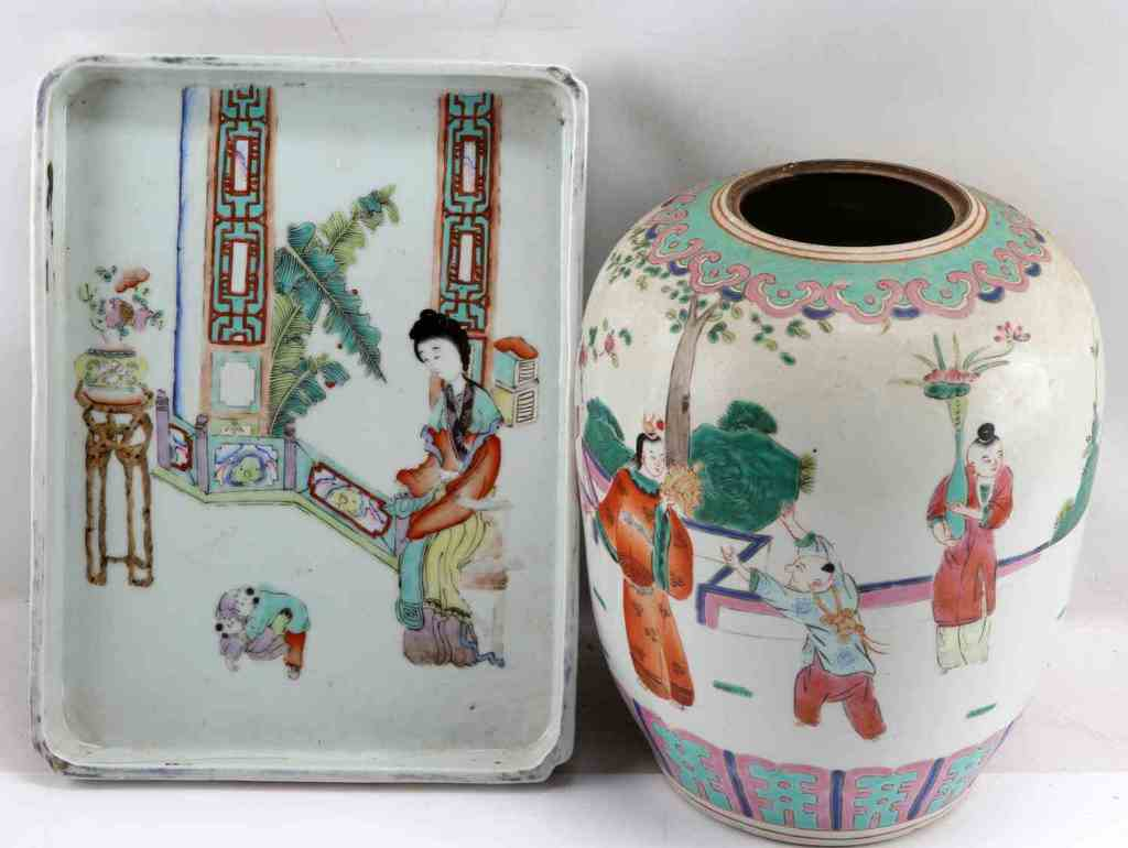 LATE 19TH CENTURY QING DYNASTY CERAMIC VASE PLATE
