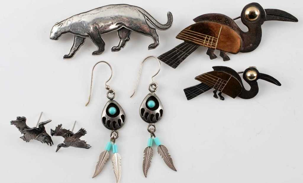 STERLING & 14K JEWELRY LOT KIT CARSON PANTHER