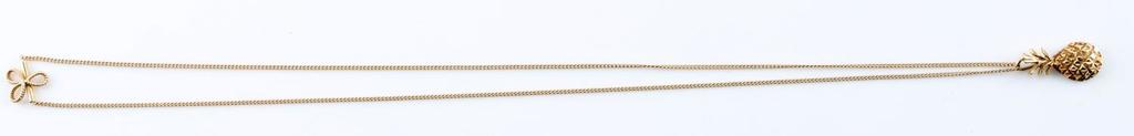 14KT GOLD JABEL CHAIN NECKLACE W PINEAPPLE PENDANT