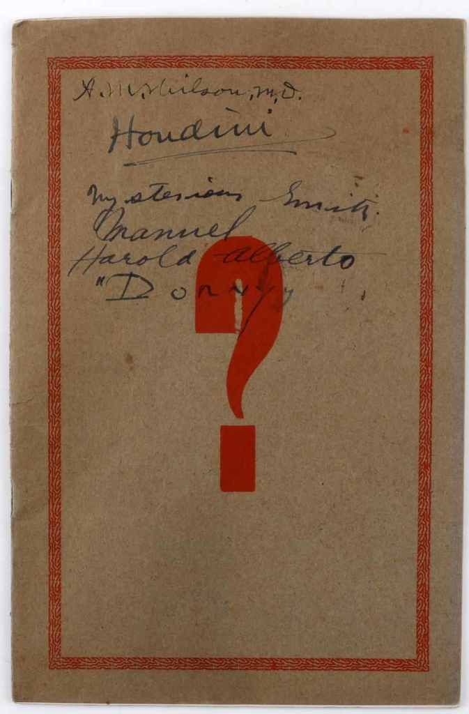 HARRY HOUDINI SIGNED ANNUAL MYSTERY SHOW PROGRAM