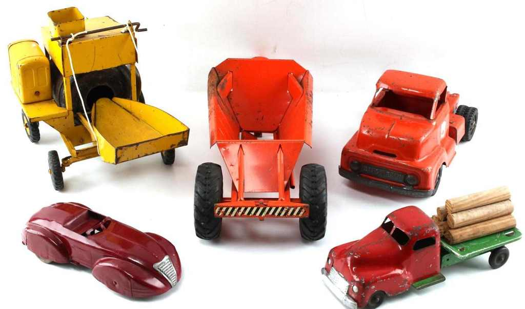 VINTAGE PRESSED STEEL TOY CAR TRUCK LOT OF 5