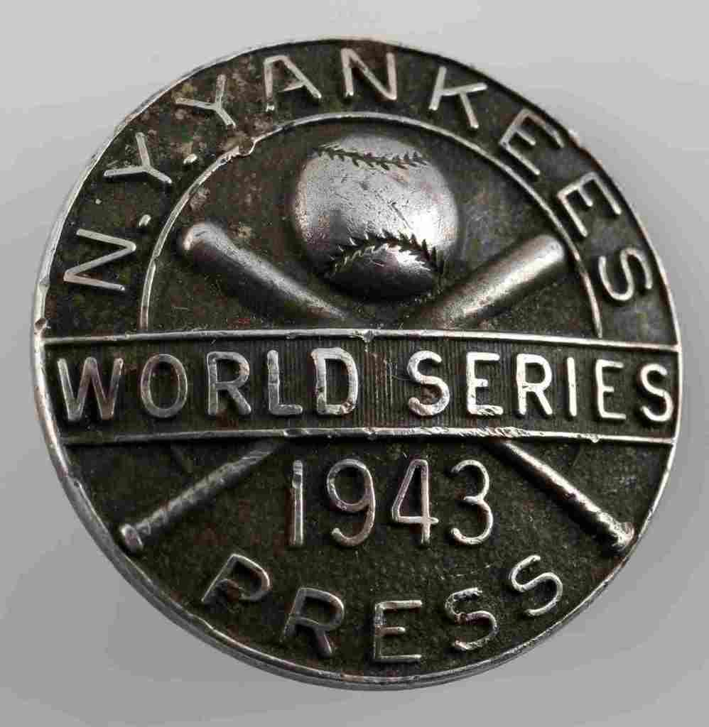 1943 STERLING SILVER WORLD SERIES PRESS PIN BADGE